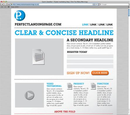 Sample Landing Page Format